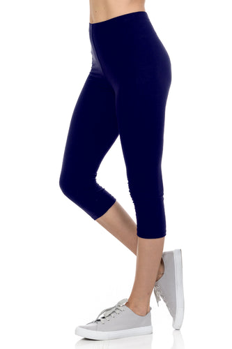 bluensquare Women's Plus Size Capri Leggings Premium Soft and Stretched Cropped legging- Navy