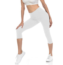 bluensquare Women's Capri Leggings Premium Soft and Stretched Cropped legging- White