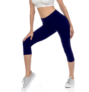 bluensquare Women's Capri Leggings Premium Soft and Stretched Cropped legging- Navy