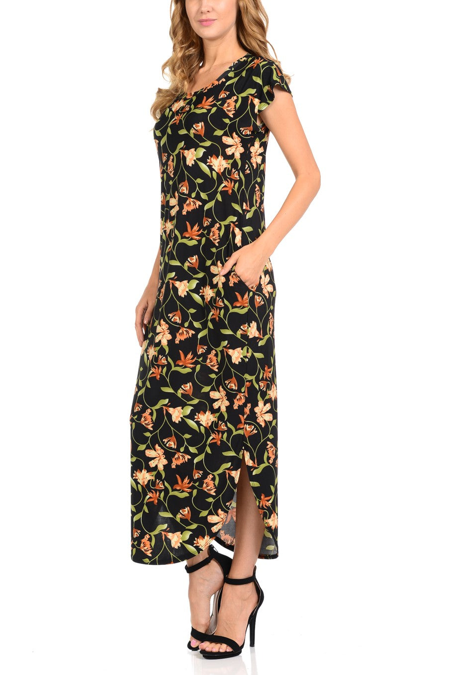Women's Maxi dress with two side pockets Round Neck  Dolman Gleaf Printed Long Dress for Women