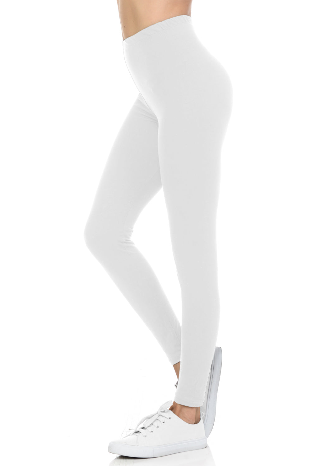bluensquare LEGGINGS  for Juniors High Waist premium soft brushed Stretched Regular One Size-White