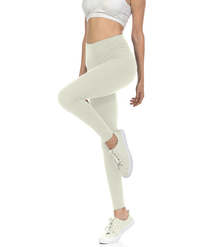 bluensquare Women's Plus Size LEGGINGS High Waist premium soft brushed Full Length-Ivory