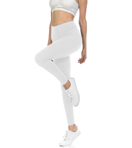 bluensquare Women's Leggings High Waist premium soft brushed Full Length -White