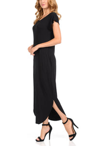 Women Maxi Dress with two side pockets Round Neck  Dolman Black Long Dress for Women