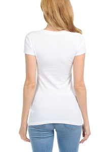 bluensquare Women's Top with Short Sleeves Basic Tee Shirts Round Neck White Large