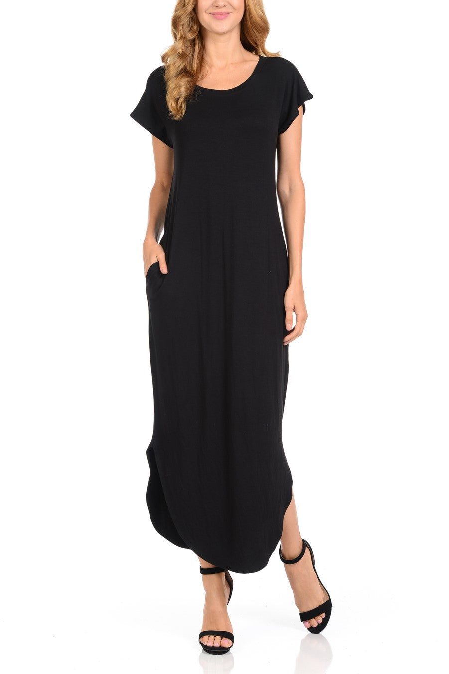 Women Maxi Dress Comfortable with Pockets Round neck Black Long Dresses