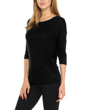 Women T-Shirts Super Soft Rayon Jersey Knit Top  3/4 Dolman Sleeves- 14 Color Variety -Black