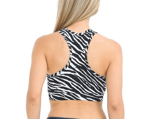 Bluensquare Women's  Sports Bra Racerback Zebra Removable Pad Yoga Gym Fitness Crop Top