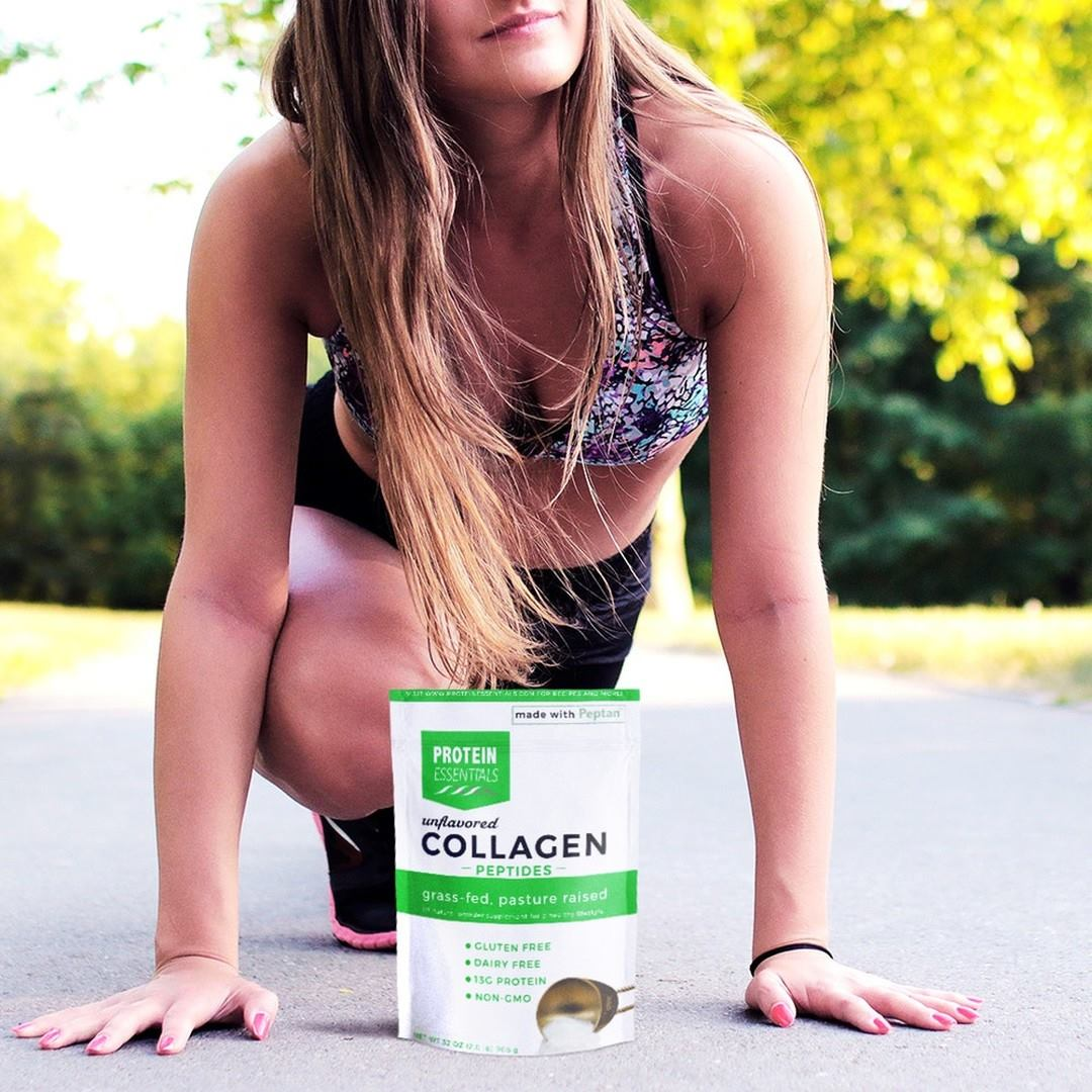 Protein Essentials Collagen with Girl Stretching