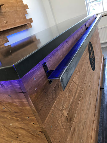 Home bar with steel counter top