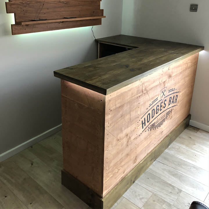 Medium Size Mancave L Shape Wooden Home Bar Set