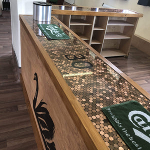 Bespoke Coin Top Straight Wooden Home Bar