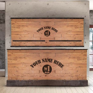L-Shape Rustic Driftwood Wooden Home Bar & Back Bar