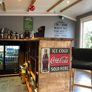 Large Solid Oak L-Shape Wooden Home Bar