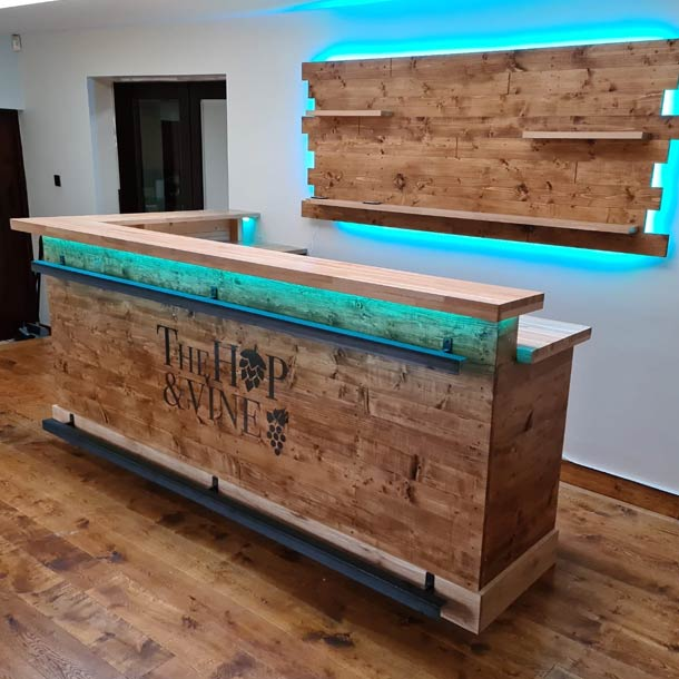 Large Split-Level Oak Counter Home Bar and Back Bar