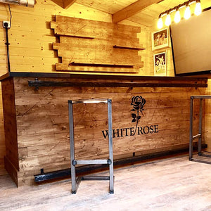 Large Steel Top Wooden Home Bar and Back Bar