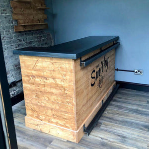 Steel Counter L Shape Wooden Home Bar With Back Bar