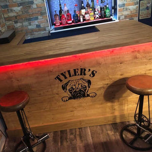 U-Shape Wooden Home Bar With Lighting and Oak Top