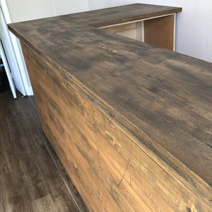 Medium Solid Oak Countertop L Shape Bar Tarnished Affect