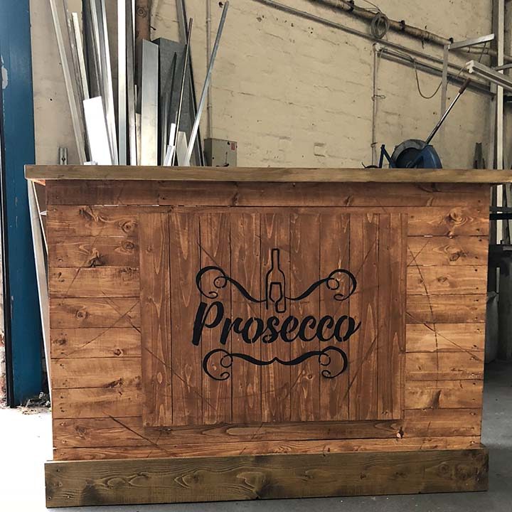 "Small Straight ""Prosecco"" Bar with Pine Counter"