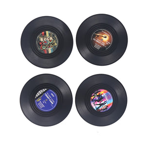 4pcs Spinning Vintage Vinyl Record Drinks Coasters