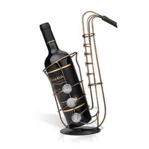 Metal sax wine rack