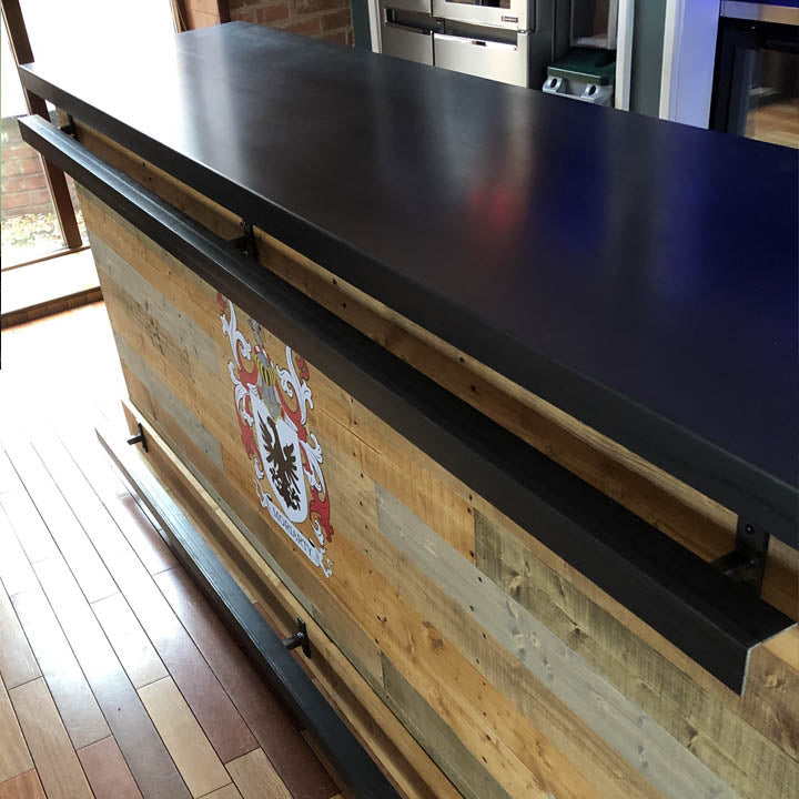 Large Straight Steel Top Bar With Coloured Paneling