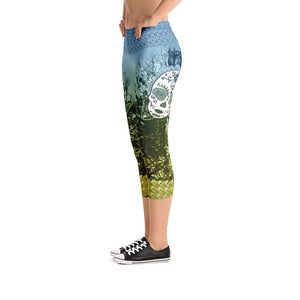 Ancient Green - Tahoe Sugar Skull Capri Leggings - Totally F*ing Brutal