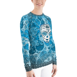 Deep Blue - Tahoe Sugar Skull Women's Rash Guard - Totally F*ing Brutal
