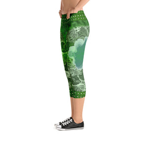 Emerald - Tahoe Sugar Skull Capri Leggings - Totally F*ing Brutal
