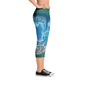 Deep Blue - Tahoe Sugar Skull Capri Leggings - Totally F*ing Brutal