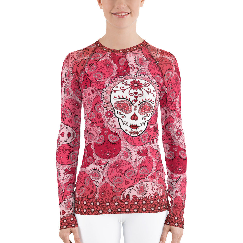 Ruby - Tahoe Sugar Skull Women's Rash Guard - Totally F*ing Brutal