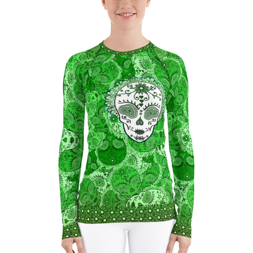 Emerald - Tahoe Sugar Skull Women's Rash Guard - Totally F*ing Brutal