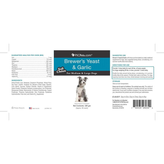 PSCPets Brewer's Yeast and Garlic - Soft Chews for Medium & Large Dogs, 240 gm
