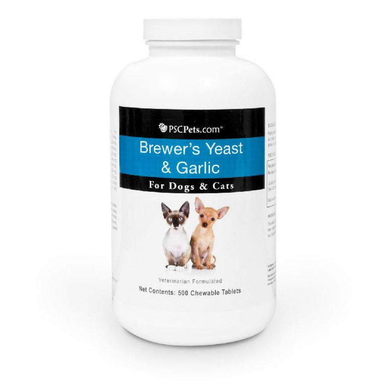 PSCPets Brewer's Yeast and Garlic - Chewable 500 Tablets for Dogs and Cats