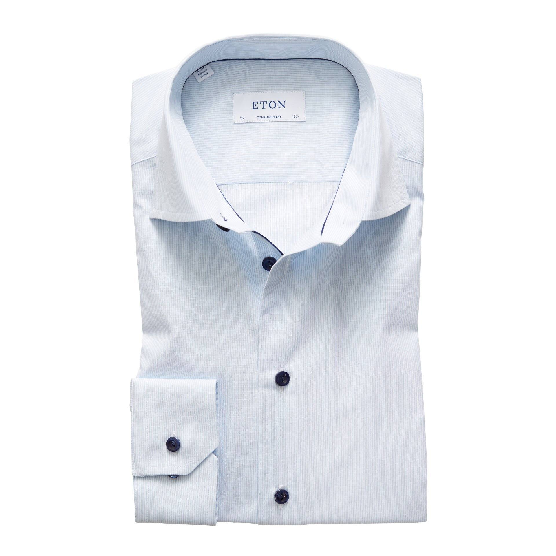 Fine Striped Poplin Shirt - Sky Blue