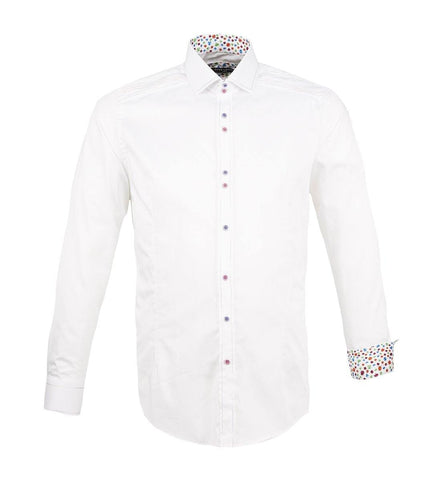 GUIDE WHITE Cotton sateen shirt with stitch, contrast button, and trim details