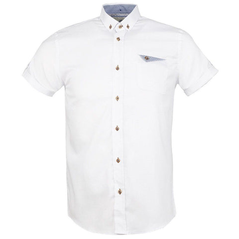 WHITE Short Sleeve Oxford Shirt - Leonard Silver