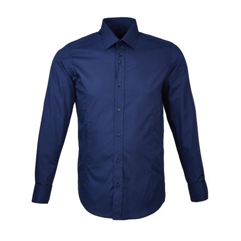 Royal Blue Classic Double Cuff Shirt - Leonard Silver