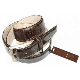 SILVANO BIAGINI Mens Silvano Biagini Belt, Genuine Crocodile, Brown - Leonard Silver