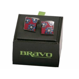 Mens Bravo Range of Cufflinks, Crimson - Leonard Silver