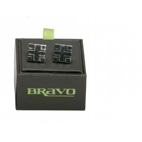 Mens Bravo Range of Cufflinks, Silver