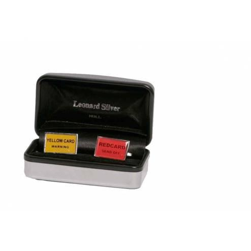 Mens Cufflinks Yellow/Red Card - Leonard Silver