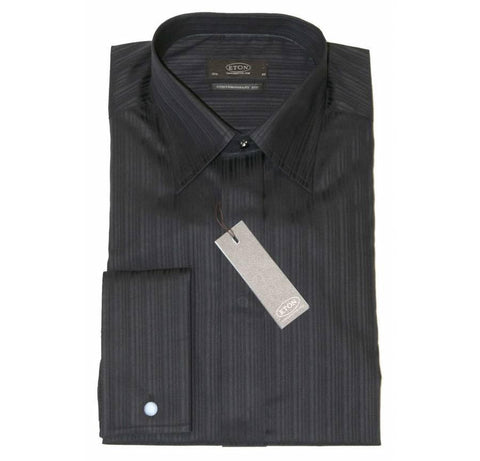 Eton Dress Shirt, Contemporary Fit, Black Self Pattern