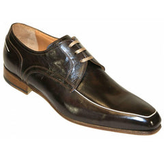 Mens Morelli Shoes, Lace up, Chocolate Brown - Leonard Silver