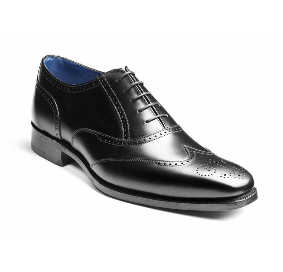 Mens Barker Shoes, Johnny, Black - Leonard Silver