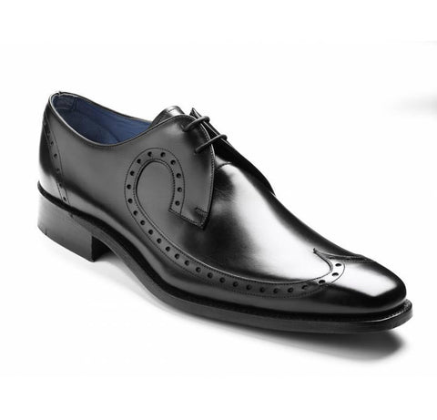 Mens Barker Shoes, Woody, Black - Leonard Silver
