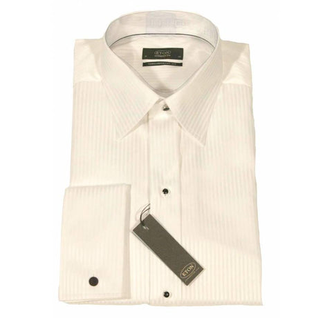 Eton Dress Shirt White Shadow Stripe - Leonard Silver