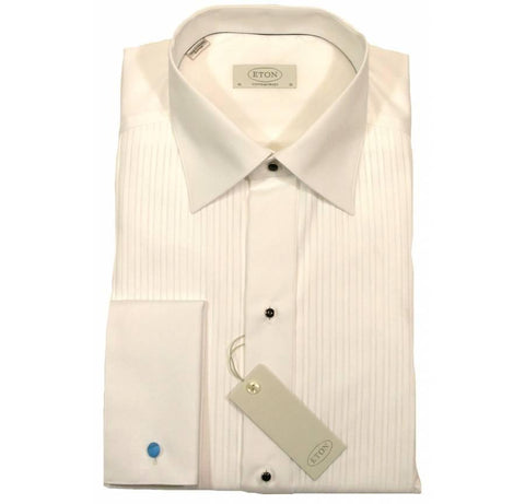 Eton Dress Shirt, Double Cuff, White, Pleated