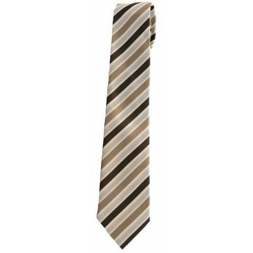 LEONARD SILVER Mens Silver Label Pure Silk Tie, Brown & Gold - Leonard Silver